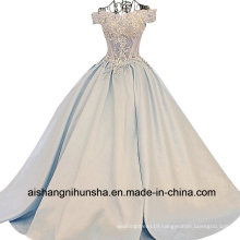 Women Satin Lace Flower Long Evening Party Prom Dress