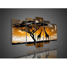 Handmade African Art Giraffe Oil Painting on Canvas for Home Decor (AR-098)