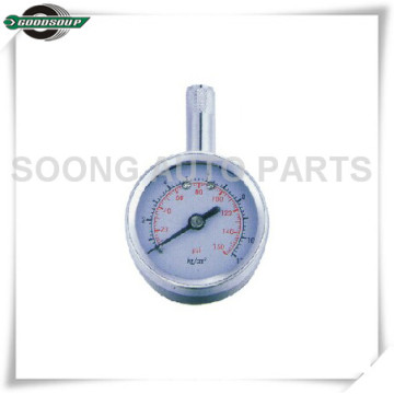 Brass Stem Metal Body Dial Type Tire Pressure Gauge