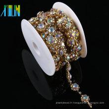 Garnitures de costume de cristal de verre d'or d'embellissement de fausse pierre