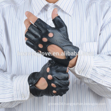 Men sheepskin summer driving half finger gloves