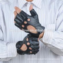 Men sheepskin summer driving half finger gloves