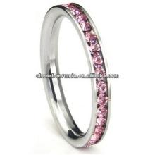 Anillo de acero inoxidable de alta calidad de color rosa cúbicos Zirconia CZ Eternidad boda anillo de la joyería 3MM banda