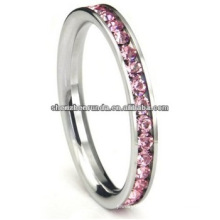 High Quality Stainless Steel Ring Pink Cubic Zirconia CZ Eternity Wedding Jewelry 3MM Band Ring