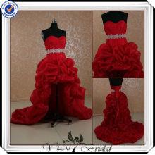 JJ0090 Crystal Sash Front Short And Long Back Red Wedding Dresses