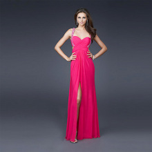 Sexig Fram Slits Slidkolumn Sweetheart Wide Straps Full Length Chiffon Perl Evening Dress