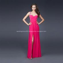 Sexy Front-slit Sheath Column Sweetheart Wide Straps Full-length Chiffon Beading Evening Dress