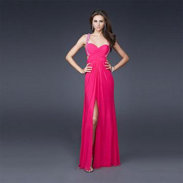 Sexy Front-fenda Coluna de bainha Sweetheart Wide Straps Full-length Chiffon Beading Evening Dress