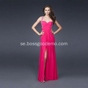 Sexig Fram Slits Slidkolumn Sweetheart Bred Straps Full Length Chiffon Perl Evening Dress