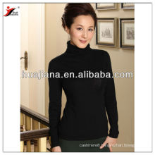 high neck women's 100% worsted cashmere sweater