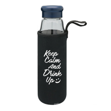 Botella de agua de vidrio portátil con bolsa protectora 470ml