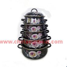 5PCS Set fonte en acier émaillé Casserole ustensiles de cuisine ensemble utilisation quotidienne
