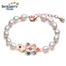 Pulsera de agua dulce de perlas de agua dulce AAA 6-7 mm de arroz de agua dulce pulsera de perlas al por mayor
