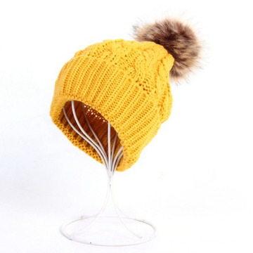 Womens Mens Fake Fur Ball Cap POM POM Knitted Beanies Thick Hat (HW100)