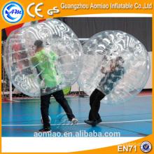 Bola de burbuja de vidrio claro loco rebote bola, bola de burbuja de parachoques inflable humano