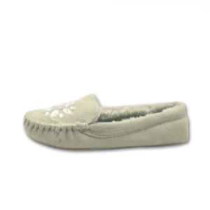 indoor lamb wool soft sole winter moccasin slippers