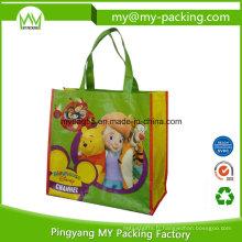 Sac réutilisable tissé de pp de BOPP de promotion d'emballage réutilisable