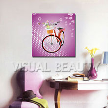 Fahrrad 3D Bild für Kinderzimmer Dekor / Cartoon Leinwand Druck / Lila Pop Bild Malerei