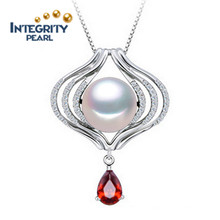 925 silberne Perlen-hängende Halskette 10-11mm AAA halb runde vollkommene Perlen-hängende Entwürfe