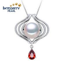 Collier pendentif en perle argentée 925 10-11mm AAA Semi Round Perfect Pearl Pendant Designs