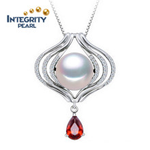 925 Silver Pearl Pendant Necklace 10-11mm AAA Semi Round Perfect Pearl Pendant Designs