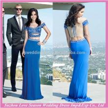 HE10098 mulheres de cetim vestem mangas curtas duas peças de vestido azul com contas elegantes e reúne longos vestidos de noite