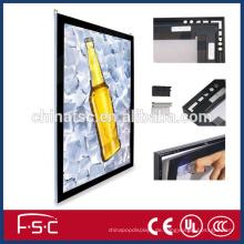 Schwarze Acrylplatte und schlanken Aluminium-Bilderrahmen führte magnetische lightbox