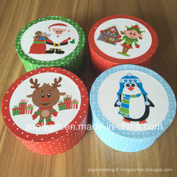 Nouvelle boîte à cadeaux en rond de Noël Petite boîte à papier en papier rond