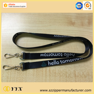 Customized logo sublimation lanyard with two clips