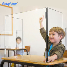 3 sided sneeze guard kid students table shield for cashier school desks