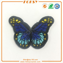 Blue butterfly hotfix embroidery patch
