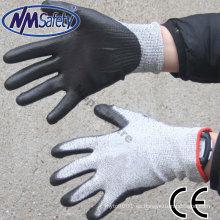 NMSAFETY corte el guante resistente de la PU del trabajo Corte el nivel 5 para el guante de trabajo de la fábrica de cristal