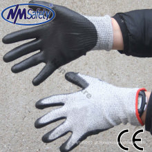 Trabalho de corte resistente NMSAFETY Luva PU Nível de corte 5 para luva de trabalho em fábrica de vidro
