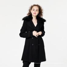 Abrigo de cuello de piel para niñas de invierno de nueva moda