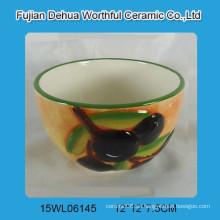 Pintado a mano cuenco de cerámica con oliva de diseño para la cocina