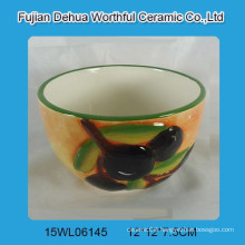 Handpainting ceramic bowl with olive design for kitchen