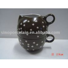 Set de café 2pcs con frasco y taza de cerámica de la leche para BS09010