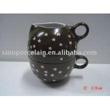 Conjunto de café 2pcs com frasco de leite de cerâmica e copo para BS09010
