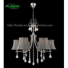 Hot Fabric Shade Crystal Chandelier Light for Living Room