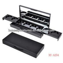 Embalagem de cosméticos preto compacto comprimido em pó caso