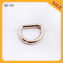 MD08 Hot sale bag metal d ring belt buckle, D shape buckle ring for handbags