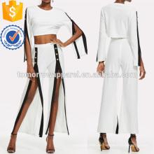 Kontrast-Trim Split Sleeve Top mit Hosen Herstellung Großhandel Mode Frauen Bekleidung (TA4066SS)
