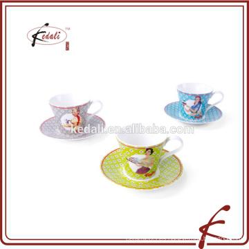 2015 nuevos productos personalizados impresos taza de té de cerámica y platillo