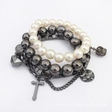 El último diseño cristo estilo vintage perla bolas pulsera elástica multicapa