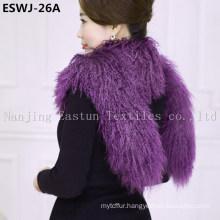 Long Pile Natural Mongolian Fur Scarf Eswj-26A