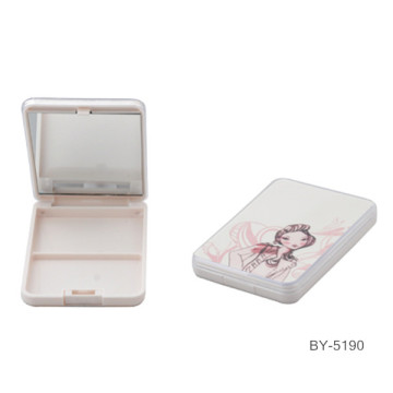 Cartoon Girl White Compact Powder Case With Mirror
