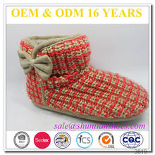 Wholesale beautiful knitted upper decorative bow faux lambswool soft sole cheap warm girls boot indoor slippers