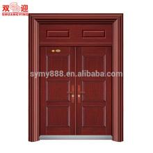 Современная входная дверь конструкции внешней безопасности стальные двери два листа