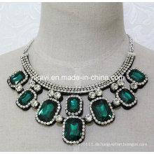 Frauen Fashion Green Square Glas Kristall Anhänger Kragen Halskette (JE0204)