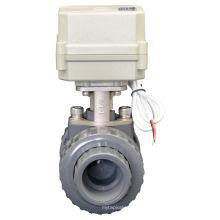 Válvula de bola de PVC motorizada automática Válvula de PVC de agua de flujo de control eléctrico (A100-T32-P2-C)